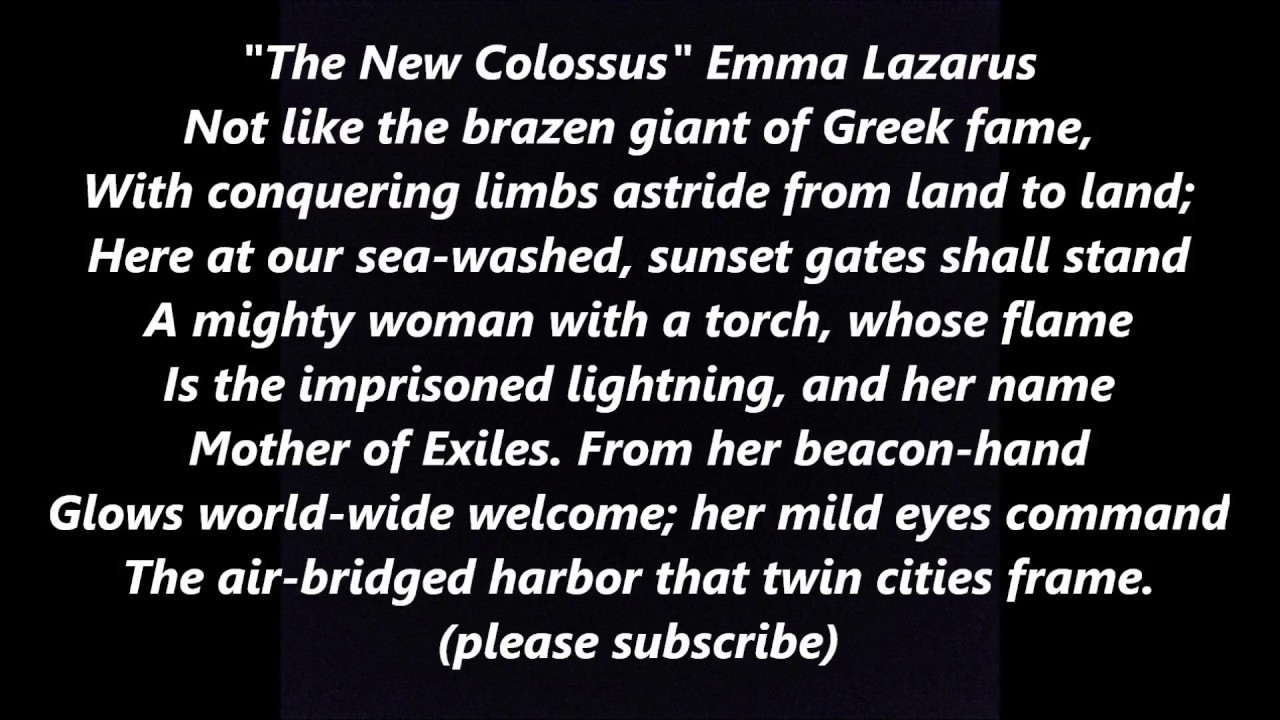 The New Colossus Sonnet Poem Words Text Statue Of Liberty Immigration Give Me Your Tired