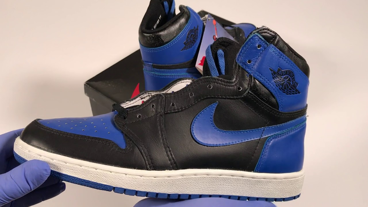 Black And Royal Blue Vintage Original Nike Air Jordan 1 Highs From