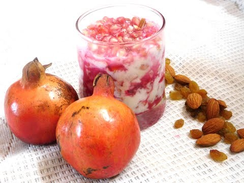Pomegranate Smoothie Yogurt | Pomegranate Curd Smoothie