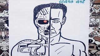 Como dibujar al terminator | how to draw terminator