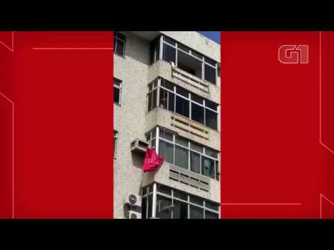 Cadela cai do 6º andar em Fortaleza, e bombeiros salvam animal com lona; vídeo
