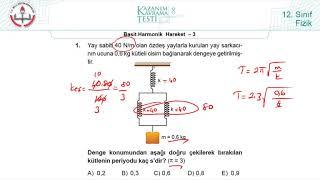 12.Sınıf MEB Fizik Kazanım Kavrama Testi-8 (Basit Harmonik Hareket-3) [2019-2020]