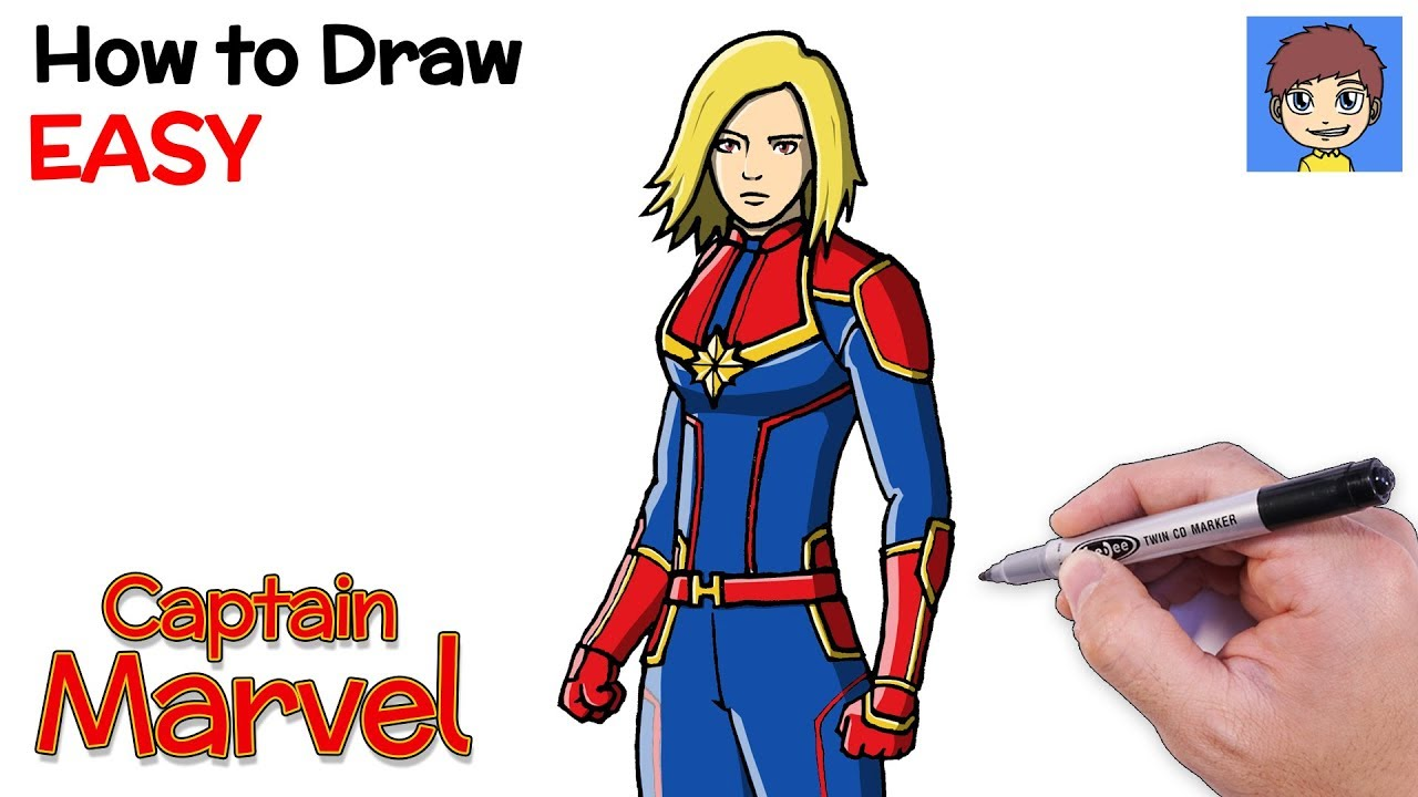 How To Draw Captain Marvel Step By Step Captain Marvel Drawing