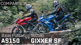 Bajaj Pulsar AS150 vs Suzuki Gixxer SF :: Comparison Video Review :: Zigwheels