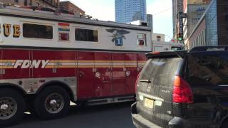 FDNY RESCUE 1 CRUISING BY ON WEST 42ND STREET IN HELL
