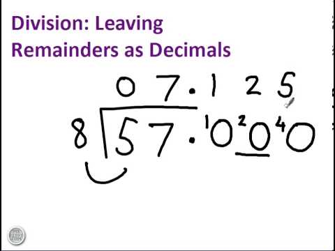 Division with remainders as decimals - YouTube