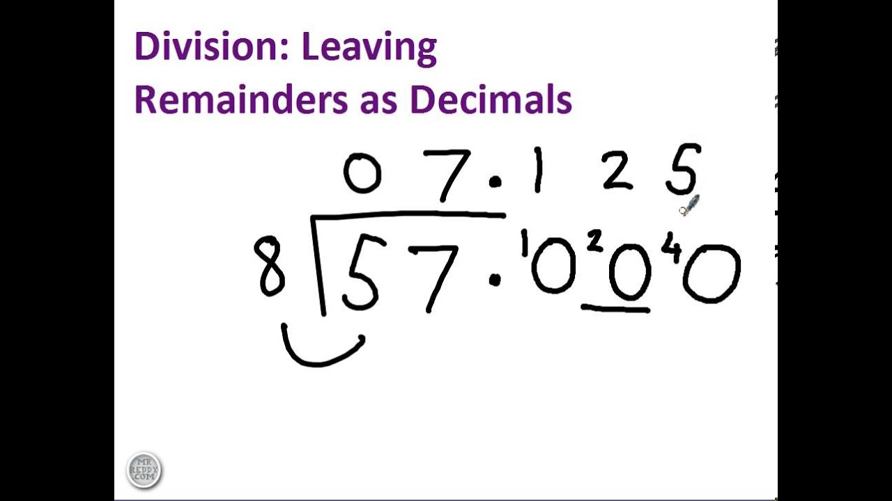 small resolution of Division with remainders as decimals - YouTube
