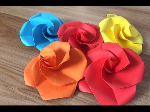 [ Origami ] Rose simple - xếp giấy hoa Hồng đơn giản