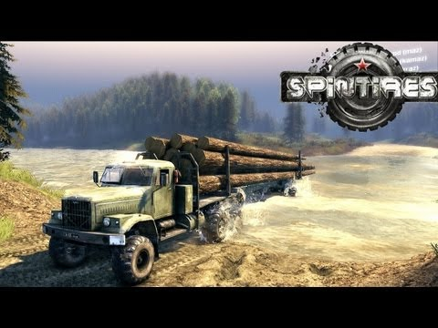 Spin Tires Dev Demo July 2013 - Kraz Log Truck + Trailer Test Drive