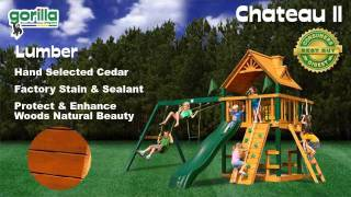 It's Playtime On The Blue Ridge Chateau Swing Set By Gorilla Playsets