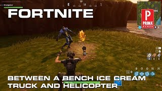 Fortnite Search Between a Bench, Ice Cream Truck, and Helicopter Challenge