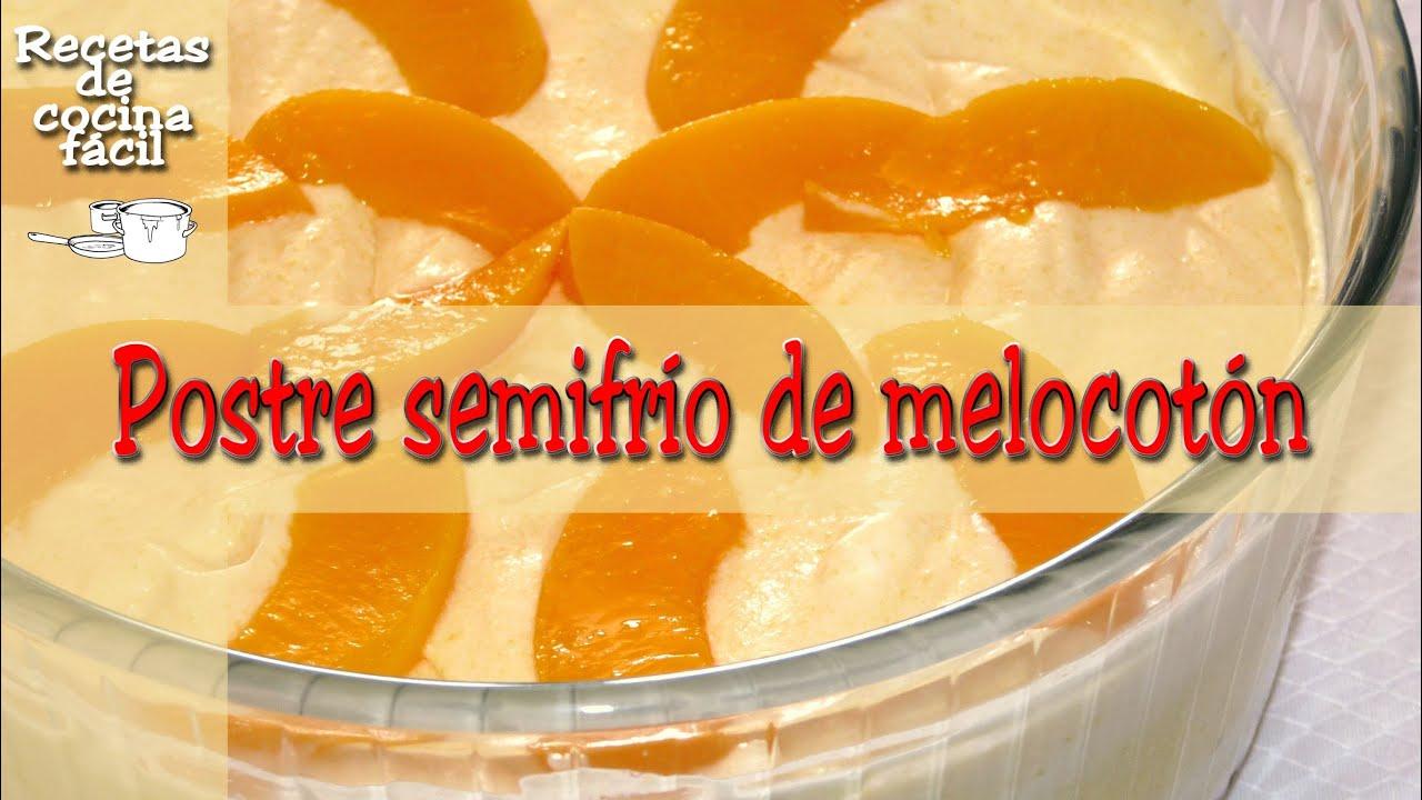 Cocina fcil  Postre semifro de melocotn  Easy peach