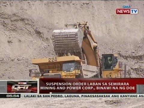 Suspension order laban sa Semirara Mining and Power Corp., binawi na ng DOE