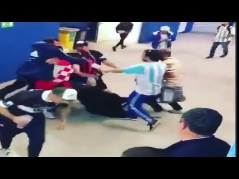 Argentina and Croatia's fans fight after the game!😧🔥
