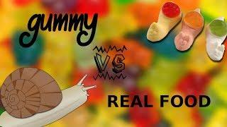 gummy VS real food- Żelki vs prawdziwe jedzenie! JEMY SLIMAKI!