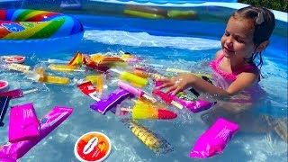 Bad kids steals Ice Cream pool babies fun play time CANDY pool Learn colours songs Nursery songs