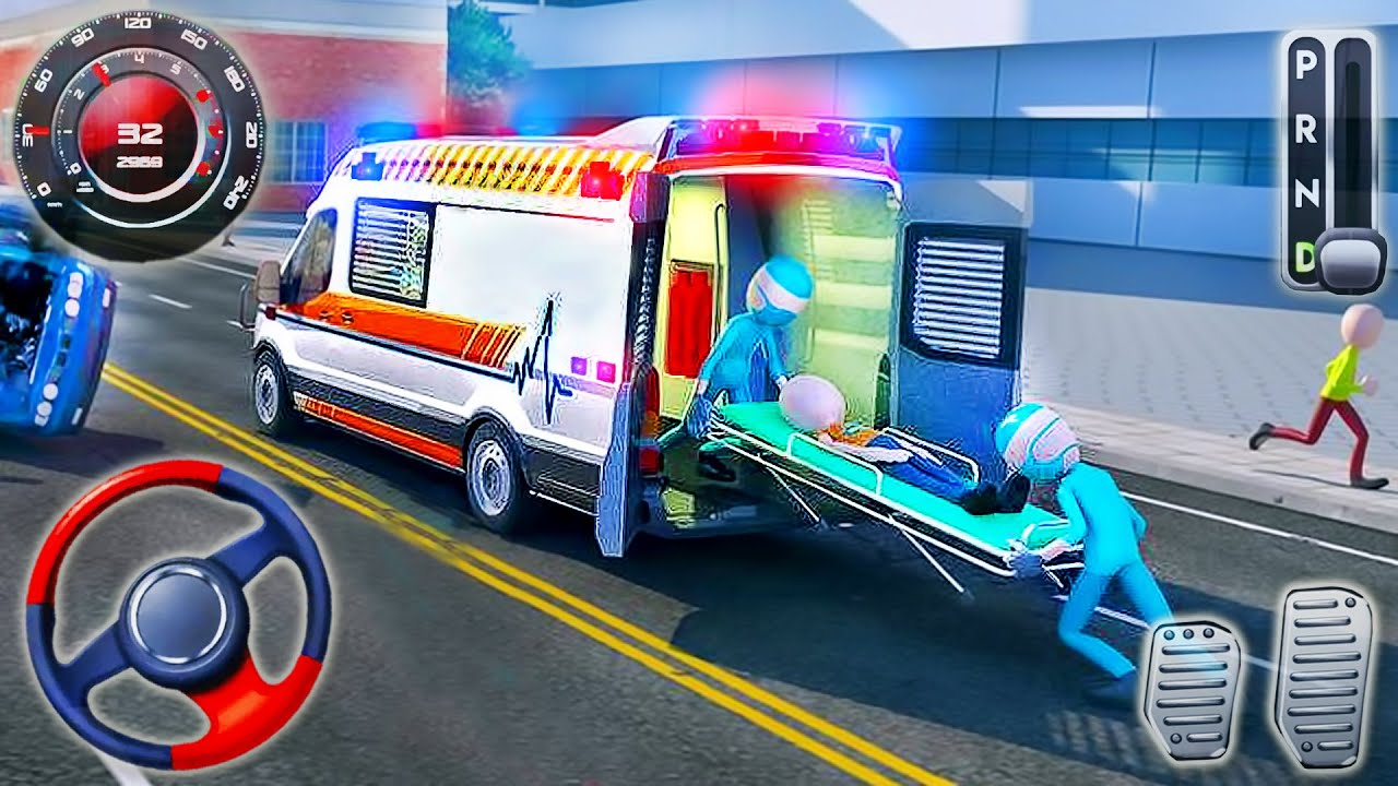 Ambulance Roof Emergency Simulator - Jumping Stunts Rescue Driving - Android GamePlay