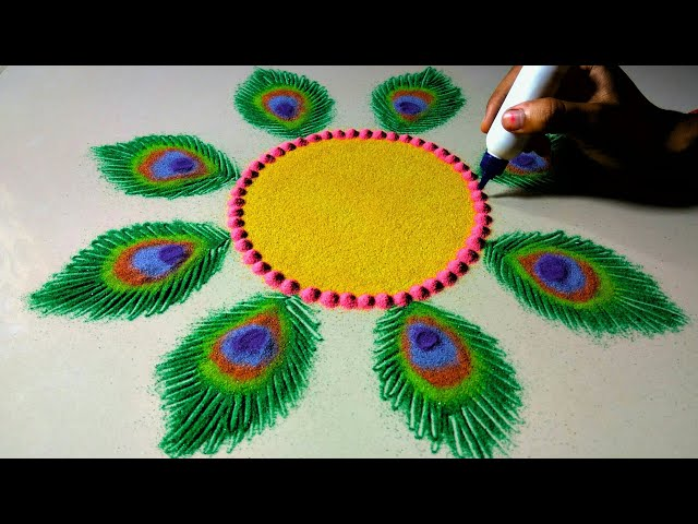 Krishna janamashtmi rangoli design | Peacock feather rangoli for janamashtmi