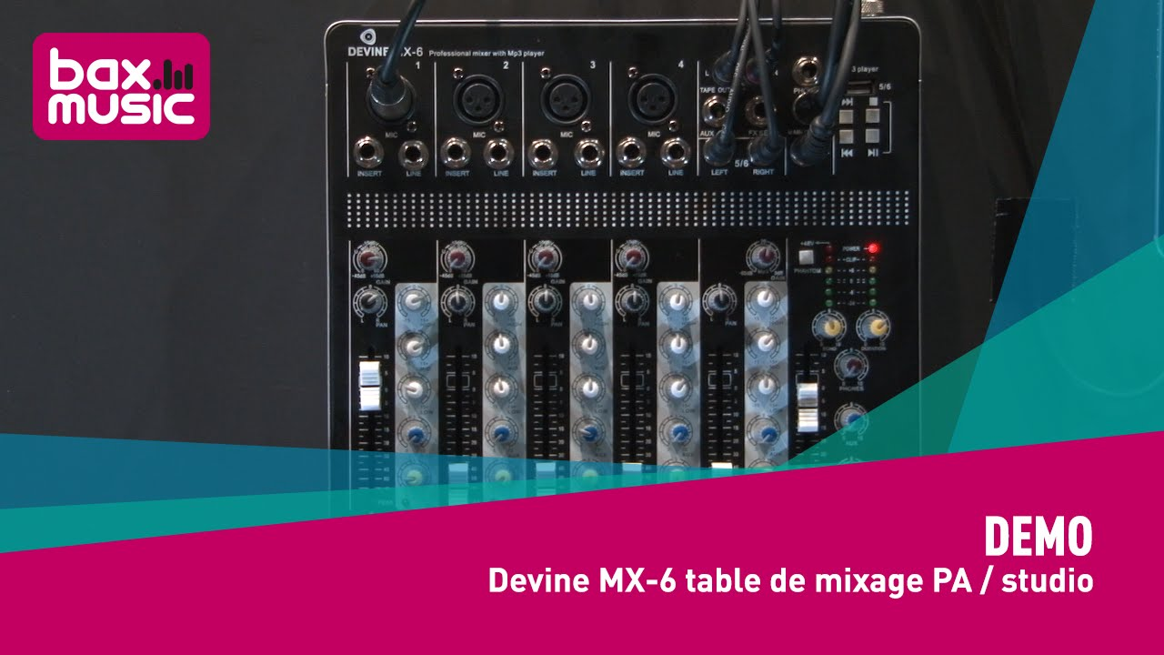 demo devine mx 6 table de mixage pa studio youtube. Black Bedroom Furniture Sets. Home Design Ideas