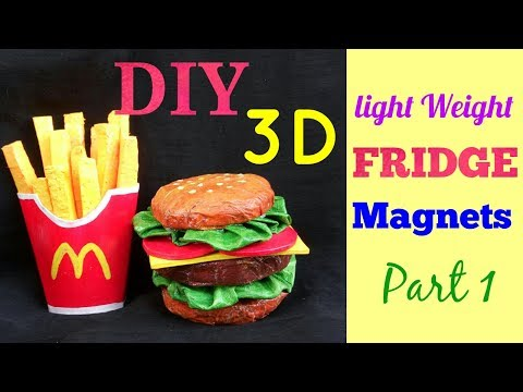 DIY Easy,light weight 3D Fridge Magnets   3D Toys   craft from waste
