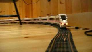 LEGO DB ICE 3 9V train on long curves around the main floor 2