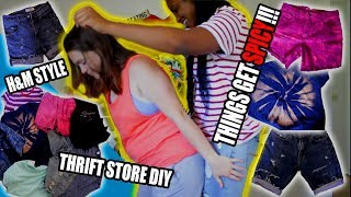 COUPLES DIY DISTRESSED SHORTS FROM THRIFT STORE JEANS | H&M TRY-ON HAUL | VLOG #78