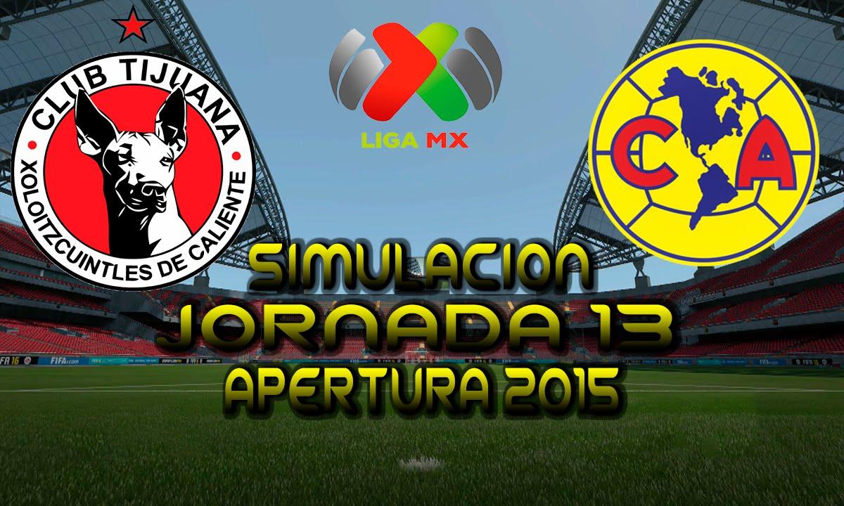 Tijuana Vs America Simulacion Liga Mx Jornada 13