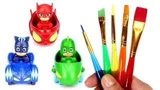 PJ Masks Drawing & Painting with Surprise Toys Cat Car Owl Glider Gekko Mobile Trolls Play Doh Molds