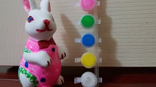 learn colors from easter bunny paints/easter bunny unboxing 4 kids/learn painting easter bunny part1