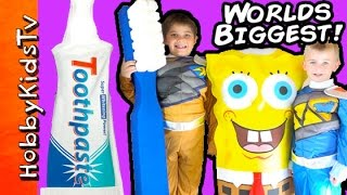 Worlds BIGGEST Toothpaste Surprise! Power Rangers Toys FIGHT Germs + SpongeBob HobbyKidsTV