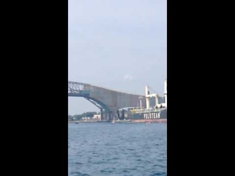 Shipping Freighter runs over sail boat in Port Huron, MI