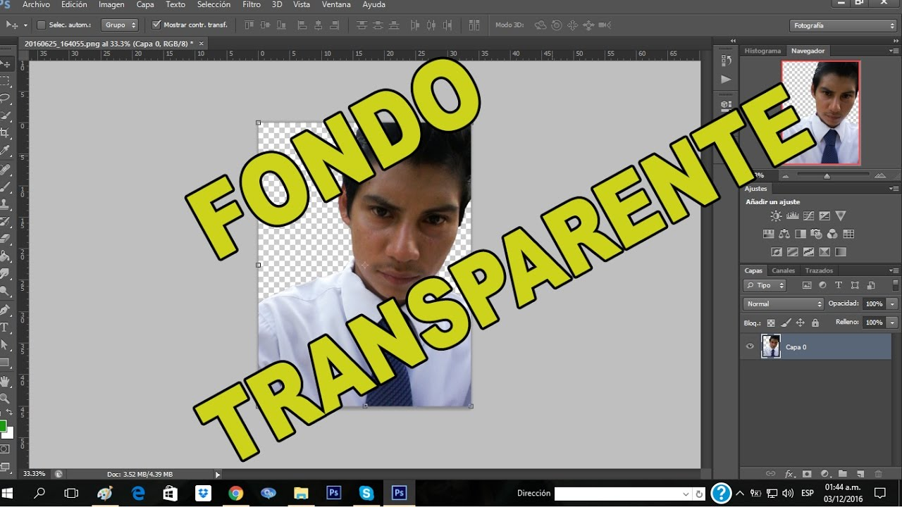 Fondo transparente photoshop cs6