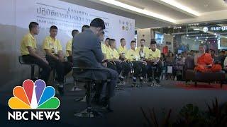Thai Cave Boys Crawl Through Tunnel To Recreate Rescue Drama | NBC News