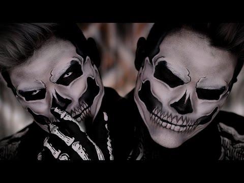Skull Halloween Costume Makeup Tutorial