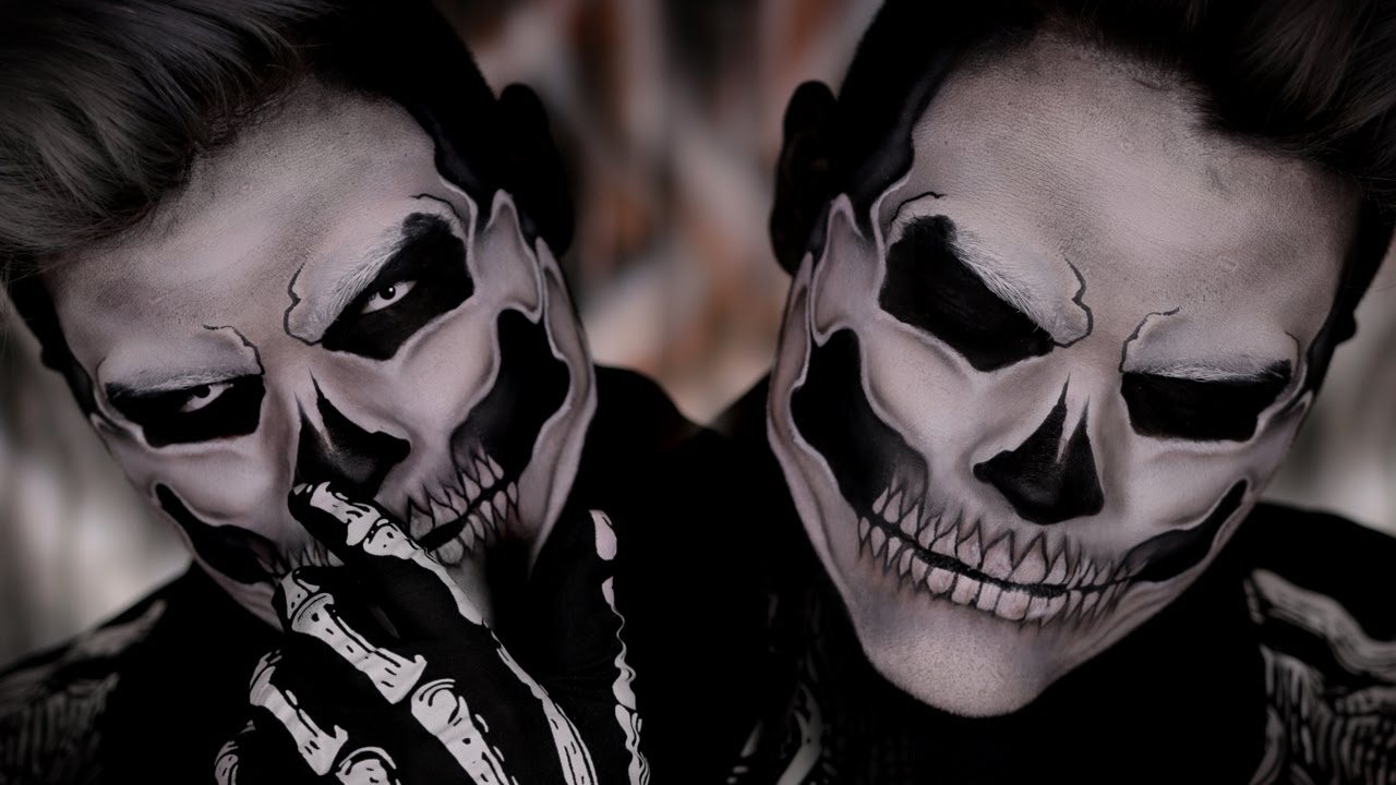 Skull Halloween Costume Makeup Tutorial - YouTube