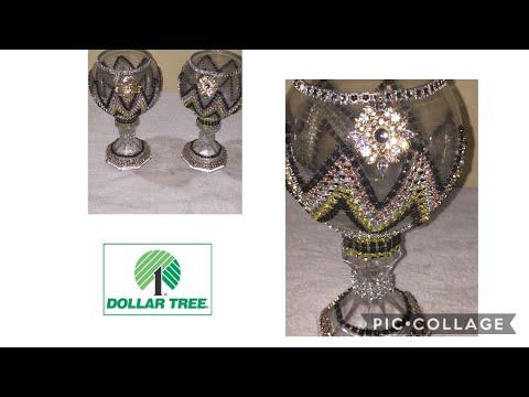 DOLLAR TREE DIY GLAM CHEVRON CANDLE HOLDERS (ORIGINAL)||HOME DECOR||6O00 SUBSCRIBERS GIVEAWAY WINNER