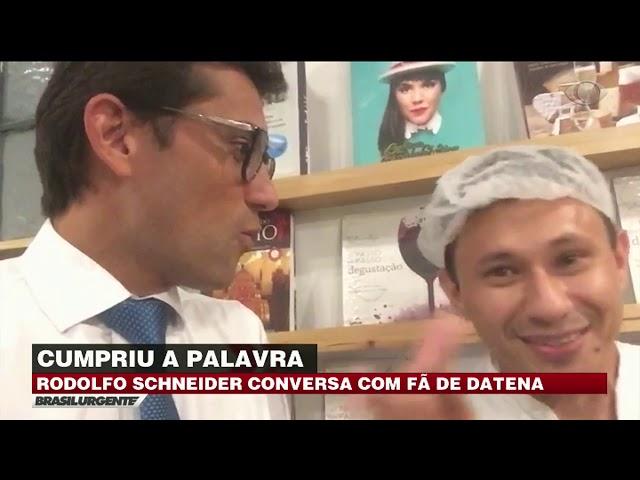 Rodolfo Schneider conversa com fã de Datena