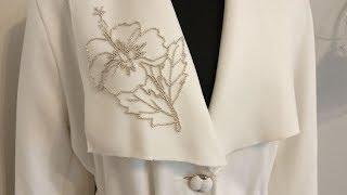 Отделка воротника вышивкой бисером