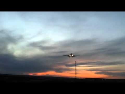 Jet landing at calgary international