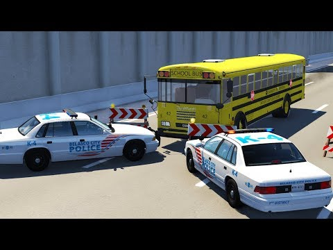 SCHOOL BUS VS POLICE BLOCKADE! EXPLOSIVE ENDING! - BeamNG.drive Crash Test Action