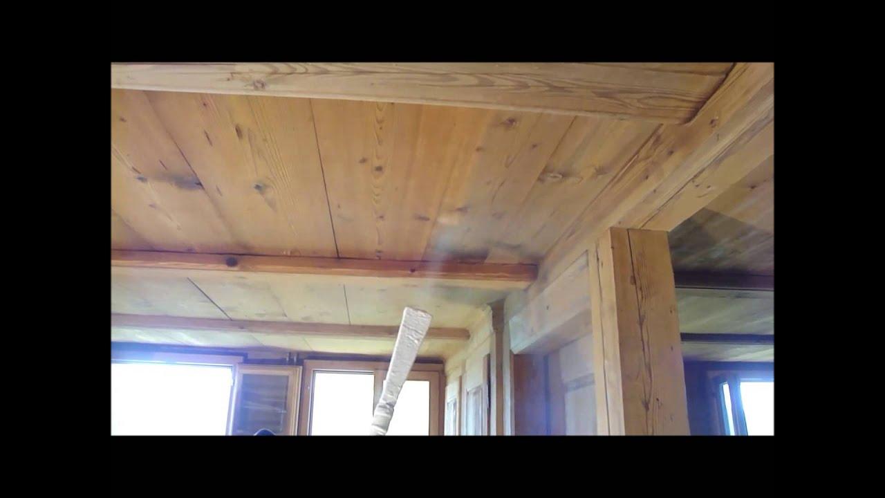 Trockeneisstrahlen oder Trockeneisreinigung Holzdecke ...