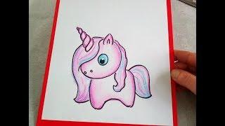 Ein Einhorn (Pony) malen lernen. Kawaii Bilder Tutorial: Zeichnen lernen für Anfänger