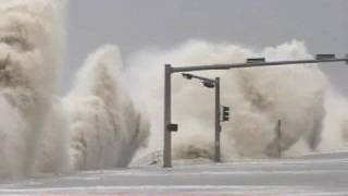 Hurricane Ike Storm Surge Bashing the Galveston Seawall