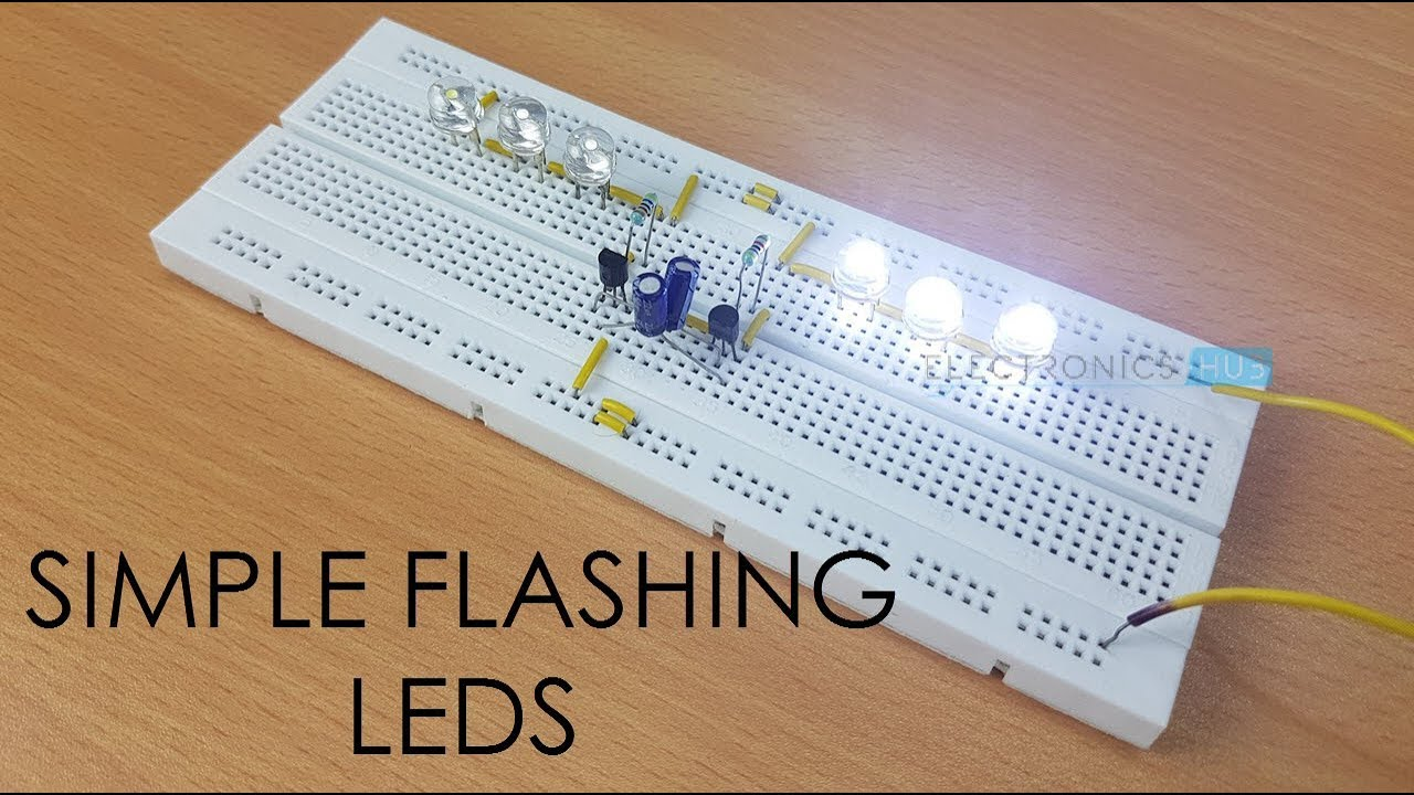 Simple Flashing Leds Youtube 555 Led Flasher One Transistor Blinking Circuit 1 5