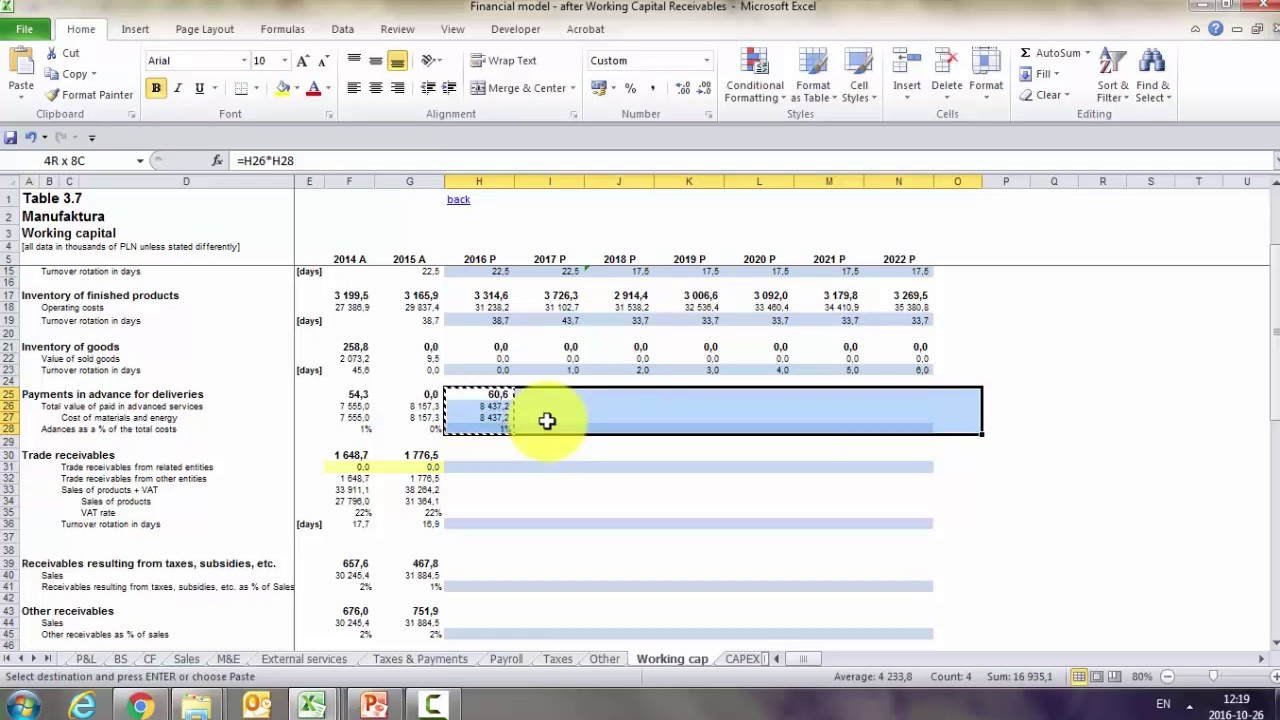 financial modeling in excel working capital youtube