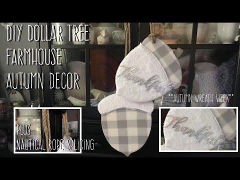 **Autumn Wreath Week** DIY Dollar Tree Farmhouse Autumn Decor PLUS Nautical Rope Splicing