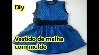 Vestido infantil de malha com molde – DIY