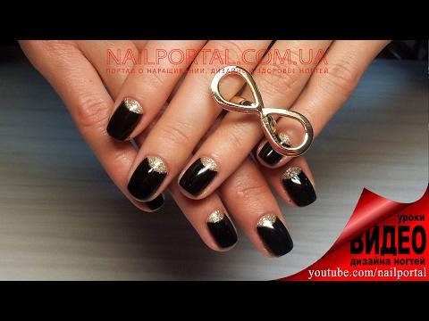 Дизайн ногтей гель-лак Shellac - Маникюр Dior / Лунный маникюр + блестки, видео уроки дизайна ногтей