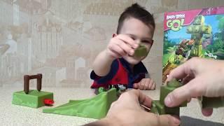 ВМ: Играем Злые Птицы Катапульта | Unboxing and playing Angry Birds Jenga Tower knockdown