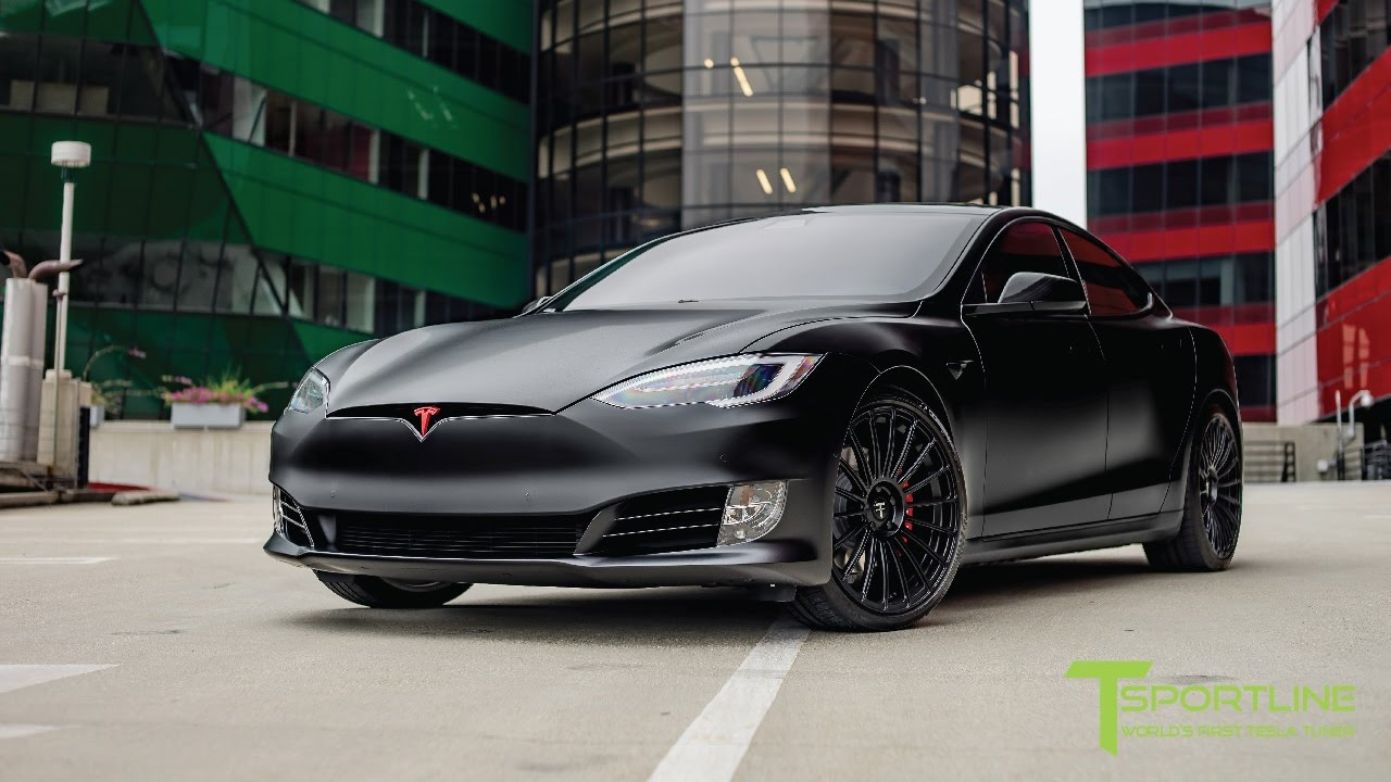satin matte black wrapped tesla model s p100d fully. Black Bedroom Furniture Sets. Home Design Ideas